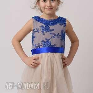 Sukienka dziecięca KORNELIA, roznkloszowane, tiul, koronka, gipiura, mamaicórkia