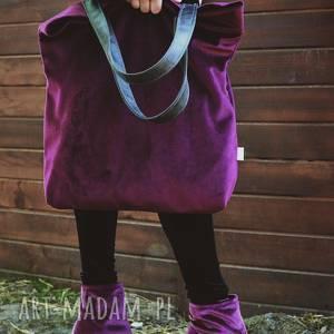torba mr m velvet burgund/uszy skóra naturalna, zakupy, shopper, pojemna