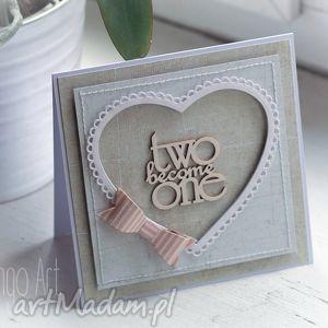 handmade scrapbooking kartki kartka ślubna z różową kokardą