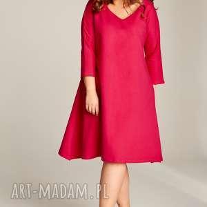 rozkloszowana gładka sukienka na każdą okazję 34-64, duże rozmiary