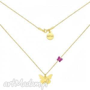 ręczne wykonanie naszyjniki złoty naszyjnik z motylami swarovski® crystal