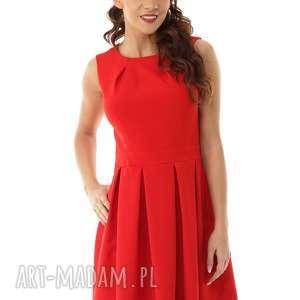 hand-made sukienki sukienka kontrafałda kolor czerwony
