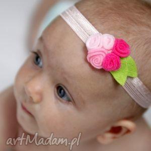 hand-made dla dziecka opaska niemowlęca - małe różyczki