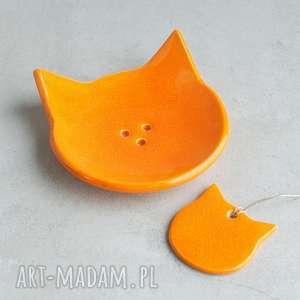 ręczne wykonanie ceramika rudy kot - mydelniczka