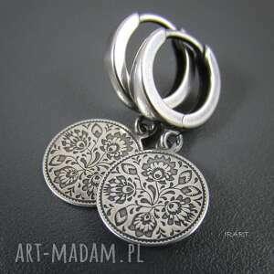 unikalne prezenty, folkowe kolczyki, srebro, oksydowane, kolczyki biżuteria