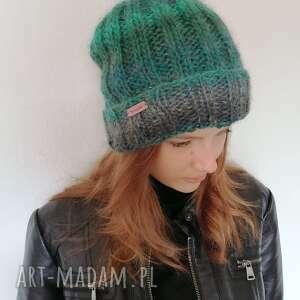 ciepła czapka, wełna, na drutach, kolorowa