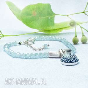 silvella bransoletka błękitna z kwarcem niebiańskim i srebrem, kwarc, błękit