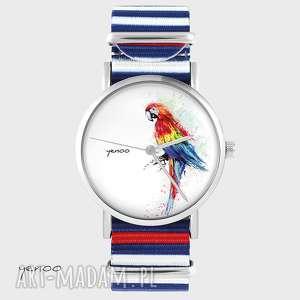 Prezent Zegarek, bransoletka - Czerwona papuga paski, nato, zegarek,