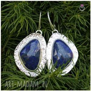 lapis lazuli i srebro - kolczyki wiszące 1358a, lazuli