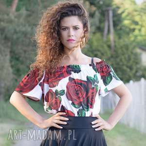 marta - bluzka z odsłoniętymi ramionami, bluzka, jersey, róże