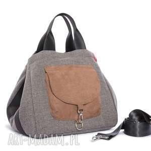 handmade na ramię torba big duo xl - ciemny popiel