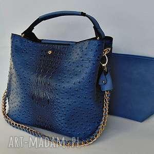 Torba w niebieskim kolorze fizka handmade torba, torebka