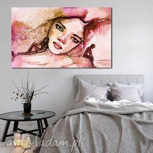 obraz xxl kobieta 10 -120x70cm na płótnie róż brąz para, obraz, ludzie