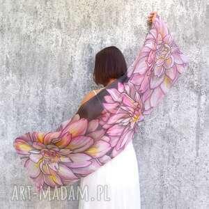 szal jedwabny dalie, ręcznie malowany - dalia kwiaty wzór, szal jedwabny malowany