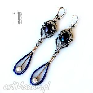 arachne - fusum srebrne kolczyki z perłami, srebro, perła, wirewrapping, długie