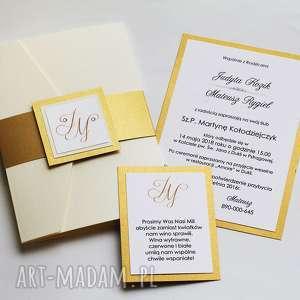 Zaproszenia kremowo złote z opaską, zaproszenie, brokatowe, perłowe, eleganckie