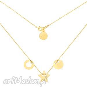 złoty naszyjnik z trzema zawieszkami karmami i - łańcuszek
