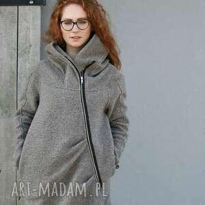 wełniany płaszcz ashmita długa ciepła, wełniana, wełniany, na zamek