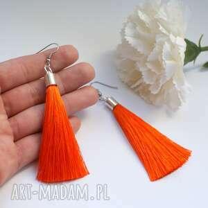 pomarańczowe kolczyki z chwostami, kolczyki, chwosty, długie, lekkie, wesele