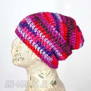 ręcznie robione czapki kolorowa czapka z włóczki ciepła 023