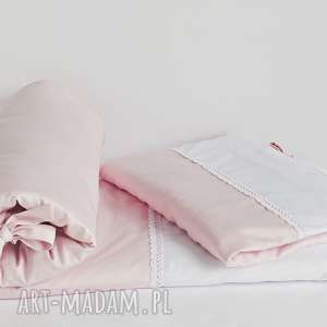 Pościel do łóżeczka 2-el 100x135 pudrowy róż/biel, pościel-do-łóżeczka, pościel-ni