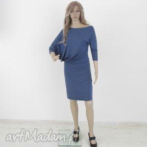 18 - sukienka asymetryczna indygo, sukienka, dzianina, dresowa,