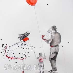 WSPÓLNIE PRZEZ ŚWIAT 2 akwarela artystki plastyka Adriany Laube, akwarela, rodzina