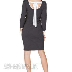 Sukienka z dekoltem na plecach T224, ciemnoszary biały, sukienka, elegancka, dekolt
