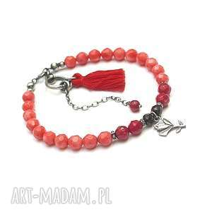 red rosa - bransoletka, srebro oksydowane, koral, granat, róża, chwost, kwiaty