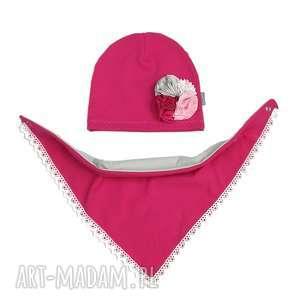 cienki komplet dla dziewczynki czapka i chusta - bawełna, jesień