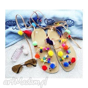 handmade buty rozm. 37 - kolorowe sandały w stylu boho