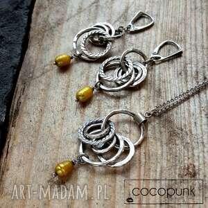 Srebro i barokowe perły - komplet cocopunk bogaty, długie