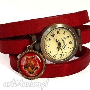 Prezent Gryffindor - Zegarek / bransoletka na skórzanym pasku, zegarek,