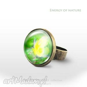 Pierścionek - Żółty motyl Energia natury antyczny brąz, pierścionek, pierścień