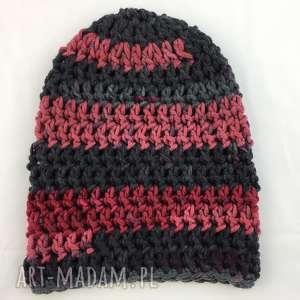 rĘcznie robiona czapka bordowo szara 3 hand made - czapka, czapki, rękodzieło