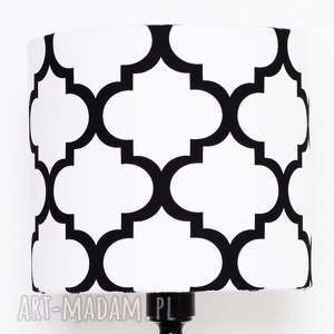 abażur fresh black-white 25x25x22cm od majunto, abażur, abażurek, koniczyna