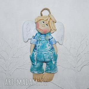 Prezent Igor się gniewa - anioł, anioły, dekoracja, ogrodniczki, paski,