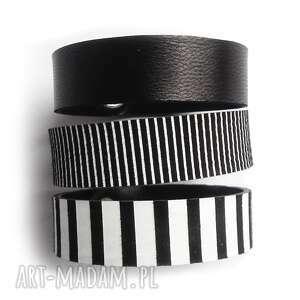 komplet trzech bransoletek skórzanych czarno-białe, paski bransoletki