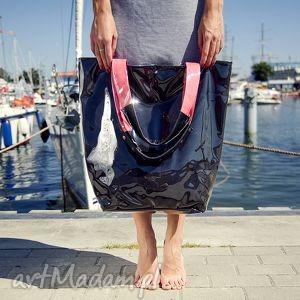 na ramię mana neon black fuksja, handmade, torb, plażowa, czarna, ramię, błyszcząca