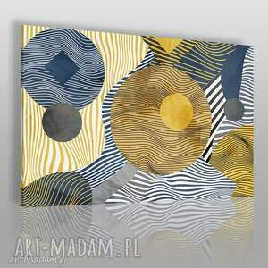 Obraz na płótnie - KOŁA LINIE ABSTRAKCJA ZŁOTO 120x80 cm (81501), koła, linie