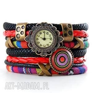 handmade zegarki zegarek - bransoletka w stylu boho, kolorowy z zawieszką