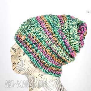 056 kolorowa czapka beanie włóczka wełna, capka, czapka