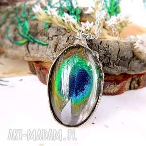 zielone pawie oczko - wisiorek szklany, piórko, pióro