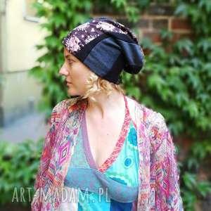 Prezent czapka damska dzianina tkanina patchwork, czapka, etno, rower, prezent, boho
