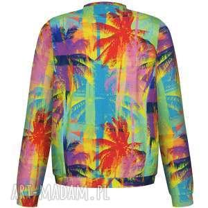 kolorowa letnia bomberka hawajskie palmy, damska bluza wiosenna, bawełniana