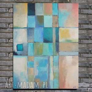 obraz na płótnie - abstrakcja 33/41 cm, abstrakcja, niebieski, akryl