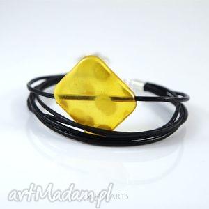bransoletki bransoletka - żółty element rzemienie skórzane, bransoletka,