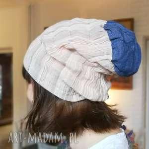 czapka wiosenna pastelowa przejściówka - czapka, choroba, marszczona, rower, etno
