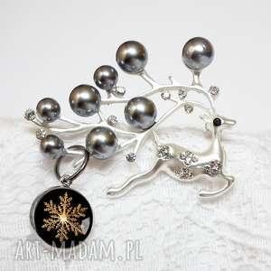 broszka renifer i perły - święta, świąteczna, renifery, prezent