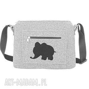 handmade na ramię mała filcowa torebka ze słonikiem